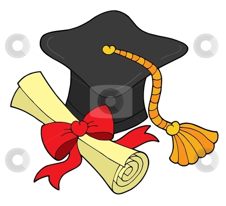 Graduation hat and scroll stock vector clipart, Graduation hat and scroll - vector illustration. by Klara Viskova