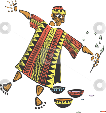 African artist  stock vector clipart, African artist with colorful cloth robes and a paintbrush. by Jeffrey Thompson