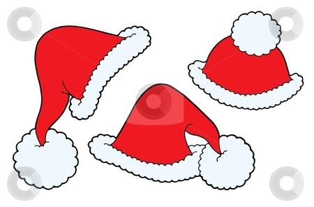 Various Christmas caps vector illustration stock vector clipart, Various Christmas caps - vector illustration. by Klara Viskova