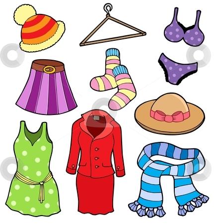 Woman clothes collection stock vector clipart, Woman clothes collection - vector illustation. by Klara Viskova