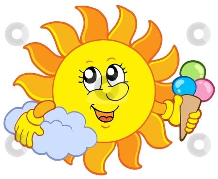 Sun with icecream stock vector clipart, Sun with icecream - vector illustration. by Klara Viskova