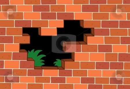 Red brick wall stock vector clipart, Red brick wall - vector illustration. by Klara Viskova