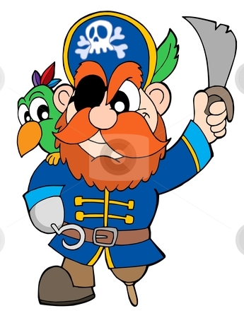 Pirate with sabre and parrot stock vector clipart, Pirate with sabre and parrot - vector illustration. by Klara Viskova