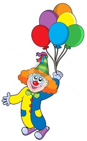 Flying clown with balloons stock vector clipart, Flying clown with balloons - vector illustration. by Klara Viskova