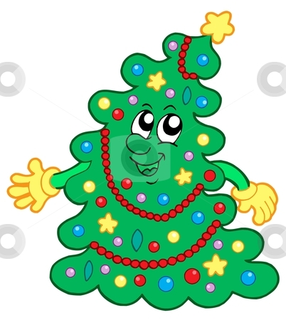 Happy Christmas tree stock vector clipart, Happy Christmas tree - vector illustration. by Klara Viskova