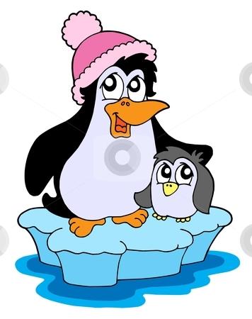 Two penguins on iceberg vector illustration stock vector clipart, Two penguins on iceberg - vector illustration. by Klara Viskova