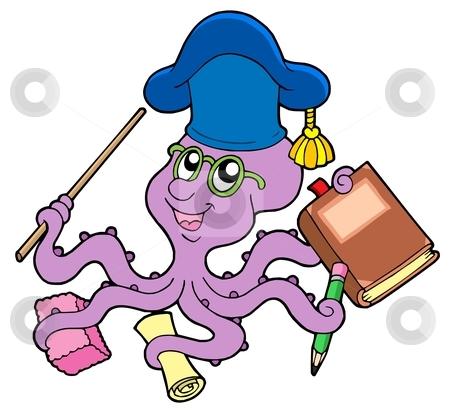 Octopus teacher stock vector clipart, Octopus teacher - vector illustration. by Klara Viskova