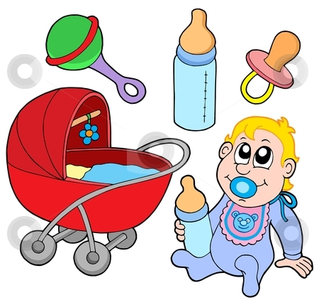 Baby collection stock vector clipart, Baby collection on white background - vector illustration. by Klara Viskova