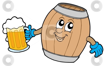 Cute wooden keg holding beer stock vector clipart, Cute wooden keg holding beer - vector illustration. by Klara Viskova