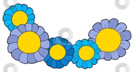 Cute blue flowers vector illustration stock vector clipart, Five blue flowers - vector illustration. by Klara Viskova