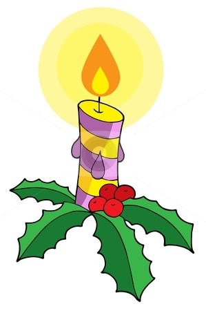 Christmas candle vector illustration stock vector clipart, Christmas candle on white background - vector illustration. by Klara Viskova