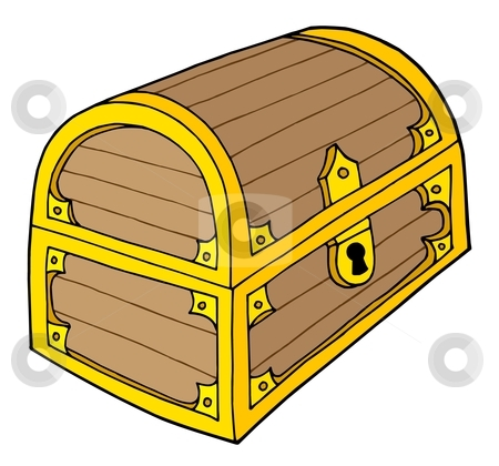 Treasure chest vector illustration stock vector clipart, Wooden treasure chest with lock - vector illustration. by Klara Viskova