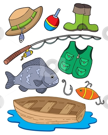 Fishing equipment stock vector clipart, Fishing equipment on white background - vector illustration. by Klara Viskova