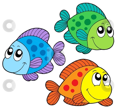 Cute color fishes stock vector clipart, Cute color fishes - vector illustration. by Klara Viskova