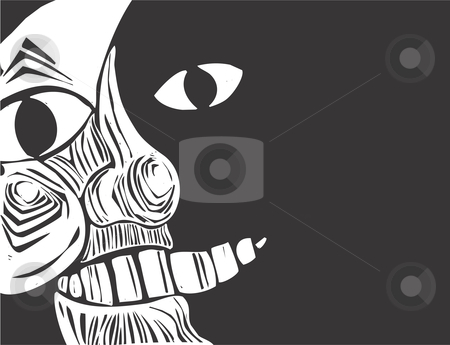 Closeup Moon face stock vector clipart, Closeup image of the man in the moon derived from one of my woodcuts. Plenty of space on the right hand side of the image for text. by Jeffrey Thompson