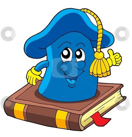 School hat on book stock vector clipart, School hat on book - vector illustration. by Klara Viskova