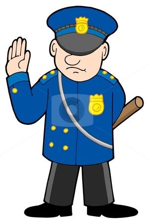 Policeman stock vector clipart, Policeman on white background - vector illustration. by Klara Viskova