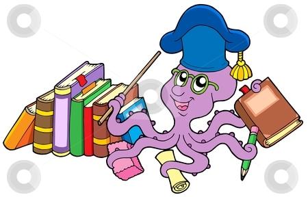 Octopus teacher with books stock vector clipart, Octopus teacher with books - vector illustration by Klara Viskova