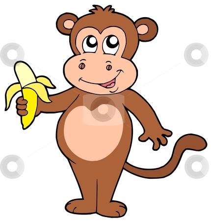 Cute monkey with banana stock vector clipart, Cute monkey with banana - vector illustration. by Klara Viskova