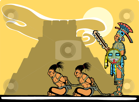 Mayan Sacrifices stock vector clipart, Mayan prisoners being guarded before being sacrificed. by Jeffrey Thompson
