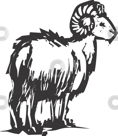 Big horn sheep stock vector clipart, A big horn sheep from a mountainside out in the west. by Jeffrey Thompson