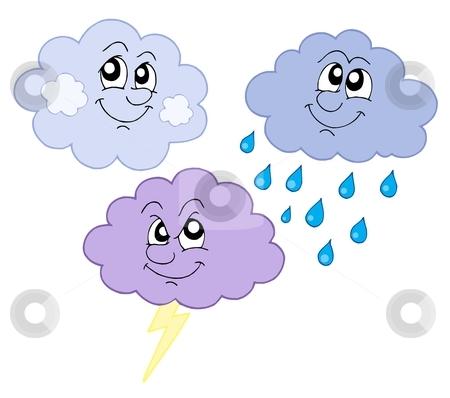 Various cute clouds vector illustration stock vector clipart, Various cute clouds - vector illustration. by Klara Viskova