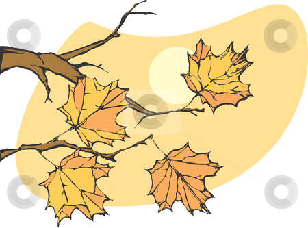 Autumn Leaves stock vector clipart, Four leaves on a tree in late autumn. by Jeffrey Thompson