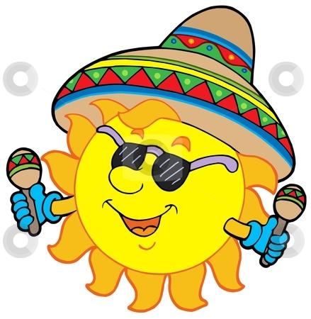 Mexican sun stock vector clipart, Mexican sun on white background - vector illustration. by Klara Viskova