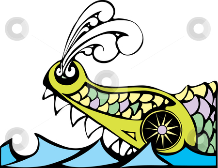 Leviathan stock vector clipart, Biblical Leviathan of the ocean blowing steam from his nostrils. by Jeffrey Thompson
