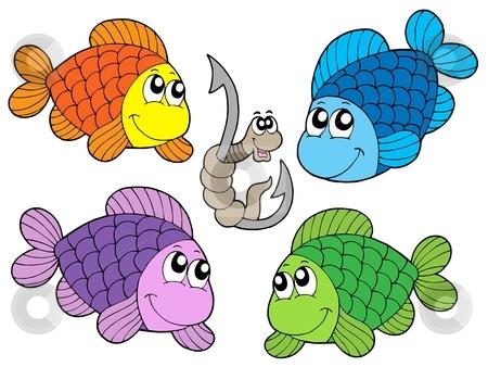 Cute carp collection stock vector clipart, Cute carp collection - vector illustration. by Klara Viskova