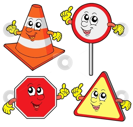 Cute road signs collection stock vector clipart, Cute road signs collection - vector illustration. by Klara Viskova