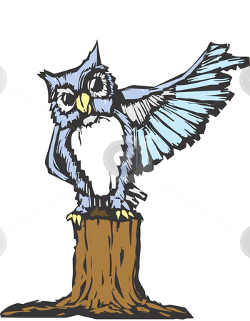 Owl stock vector clipart, An owl raises his wing as he tries to prove a point. by Jeffrey Thompson