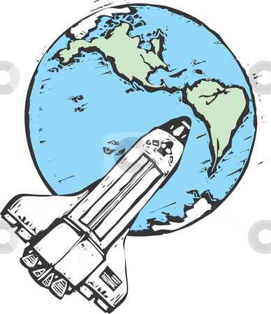 Space Shuttle stock vector clipart, Top view of the United States Space Shuttle in orbit. by Jeffrey Thompson