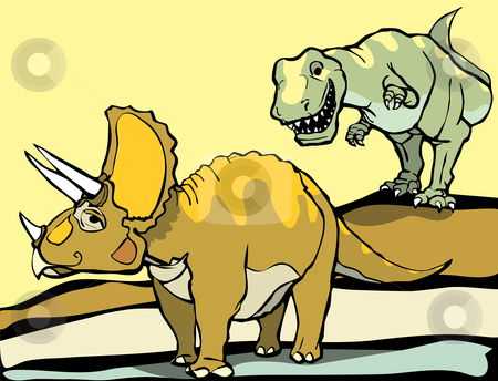 Hunting the Triceratops stock vector clipart, Smiling Tyrannosaurus Rex hunts the Triceratops. by Jeffrey Thompson