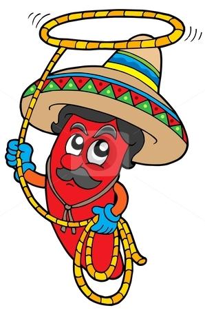 Cartoon Mexican chilli with lasso stock vector clipart, Cartoon Mexican chilli with lasso - vector illustration. by Klara Viskova