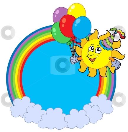 Rainbow circle with party sun stock vector clipart, Rainbow circle with party sun - vector illustration. by Klara Viskova