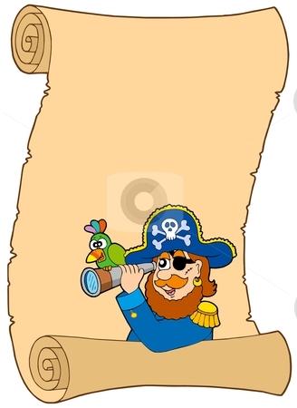 Parchment with pirate and spyglass stock vector clipart, Parchment with pirate and spyglass - vector illustration. by Klara Viskova