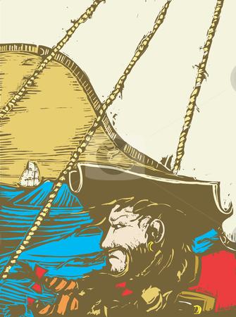 Blackbeard the Pirate stock vector clipart, Blackbeard the Pirate on the Deck of his ship. by Jeffrey Thompson