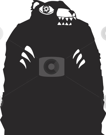 Black bear stock vector clipart, Black bear woodcut looming in a nightmare. by Jeffrey Thompson