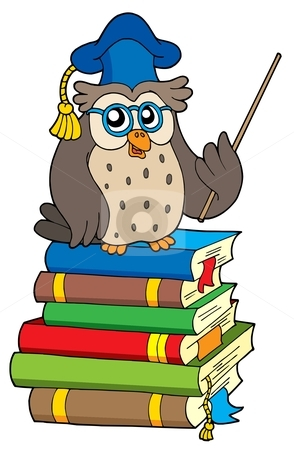 Owl teacher and books stock vector clipart, Owl teacher and books - vector illustration. by Klara Viskova