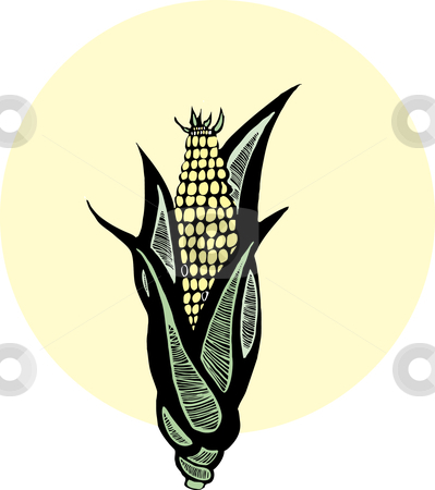 Woodcut Corn stock vector clipart, Ear of corn depicted in the style of woodcut by Jeffrey Thompson