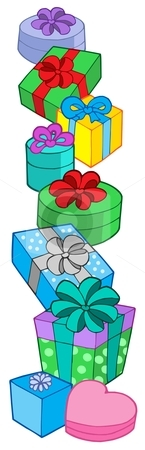 Pile of various colors gifts stock vector clipart, Pile of various color gifts - vector illustration. by Klara Viskova