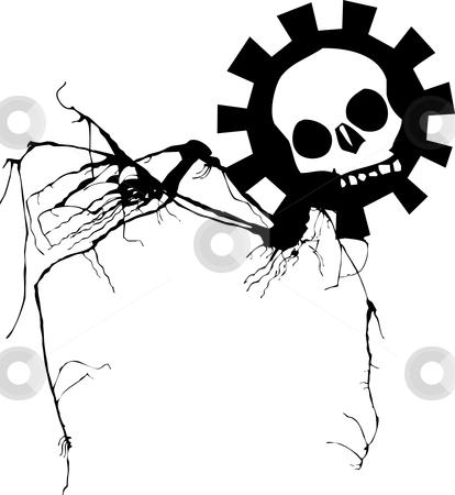Geared skull walking stock vector clipart, Geared skull walking on spindly legs. by Jeffrey Thompson