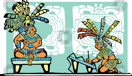 Mayan King and Scribe stock vector clipart, Mayan King on throne being recorded by scribe. by Jeffrey Thompson