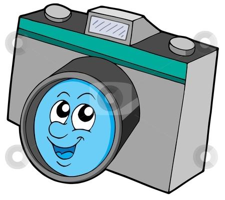 Cute camera stock vector clipart, Cute camera with smiling face - vector illustration. by Klara Viskova