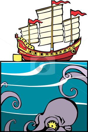 Chinese Junk and Octopus stock vector clipart, Chinese Junk on the surface and Octopus below. by Jeffrey Thompson