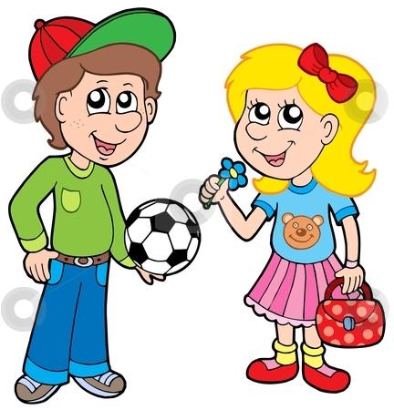 Cartoon boy and girl stock vector clipart, Cartoon boy and girl - vector illustration. by Klara Viskova
