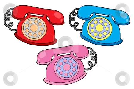 Various colors telephones vector illustration stock vector clipart, Various colors telephones - vector illustration. by Klara Viskova