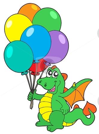 Cute dragon with balloons stock vector clipart, Cute dragon with balloons - vector illustration. by Klara Viskova
