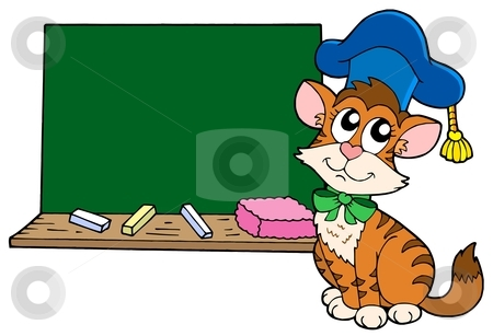 Cat teacher with blackboard stock vector clipart, Cat teacher with blackboard - vector illustration. by Klara Viskova